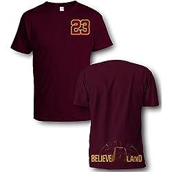 Sol retro shirts - Camiseta - Retro - para hombre negro rojo (Maroon) Small