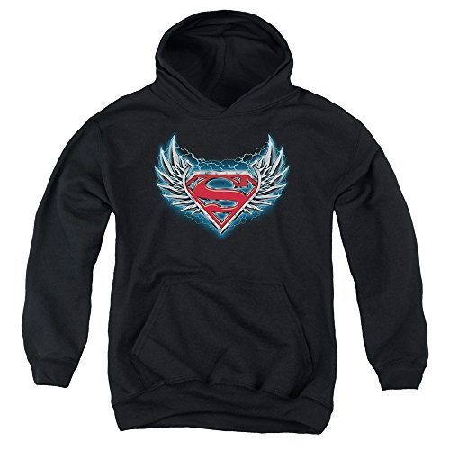 Superman-Youth Logo-Felpa con cappuccio, in acciaio Nero  nero