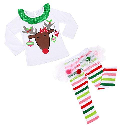 JYJMBaby Girls Christmas Infant Toddler Santa Elk Cake Dress 2 Pieces (Größe:80, Weiß) (Puff Top Sleeve Girls)