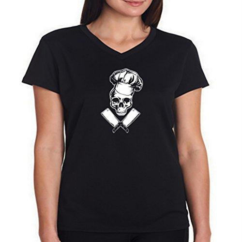 Camiseta cuello V de mujer Chef Cooking Skull