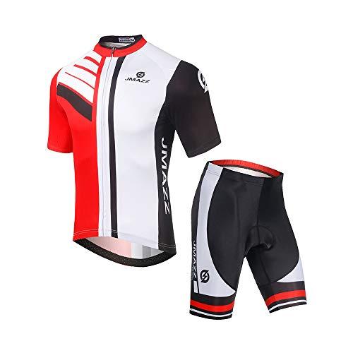 Jmazz Radtrikot Herren Set Kurzarm Fahrradbekleidung Schnelltrocknend + Radhose mit Sitzpolster für Radfahren MTB Jogging