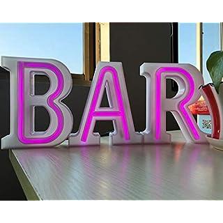 Neon Lights BAR - Purple Illuminated Marquee Bar Sign - Purple Lighted LED Marquee Word Sign - Pre-Lit Pub Bar Sign Light Battery Operated &USB