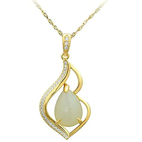 Epinki Women Girls 925 Sterling Silver Necklace Cubic Zirconia Crystal Hollow Out Teardrop Gold