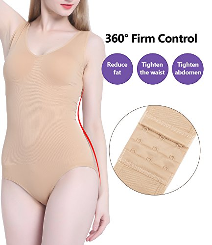 ACtex Body più sottili di Shaky di nylon senza cuciture in seta da donna con 3 file di ganci di apertura per la chiusura del cavallo Beige