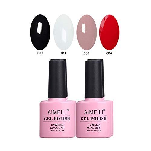 AIMEILI UV LED Gellack mehrfarbig ablösbarer Gel Nagellack Schwarz Weiß Nude Rot Gel Polish Set Kit - 4 x 10ml (SET4-19) (Weiß Gel Nagellack)