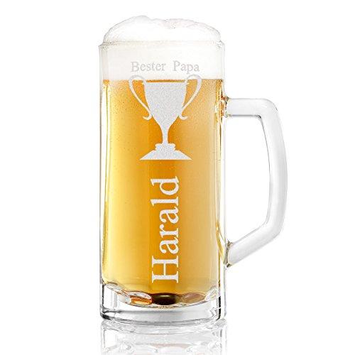 Bierkrug mit Gravur eines Namens – Bierseidel Motiv Bester Papa 0,5l