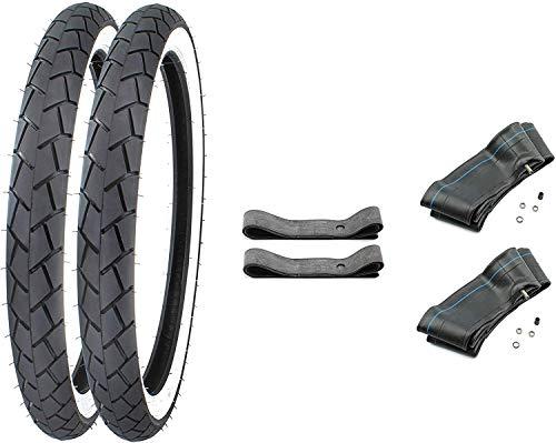 SET: 2 Weisswand Reifen inkl. 2x Schlauch + 2x Felgenband 2,25-17 (2 1/4x17-21 x 2,25) für Mockik Mofa (2)