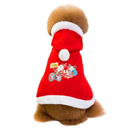 BESTOYARD Weihnachten Haustierkleidung Winter Hund Cape Pet Kleidung Kostüm (rot, Größe S)