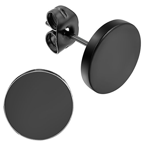Flongo Ohrstecker Knopf, 10mm Edelstahl Gestüt Stecker Ohrringe Ohrstecker Flach Matt Ohrhänger Schwarz für Männer Herren Damen