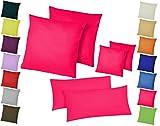 Doppelpack / 2er Set Microfaser Kissenhüllen / Kissenbezüge - Wohndekoration in schlichtem Uni Design mit Reißverschluss und in 3 Größen, 80 x 80 cm, Pink / Home-Impression