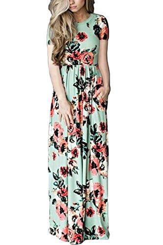 WIWIQS Frauen Art und Weisegedrucktes langes Kleid Kurzschluss Hülsen Reich Blumen Fußboden Länge Kleid Grün M