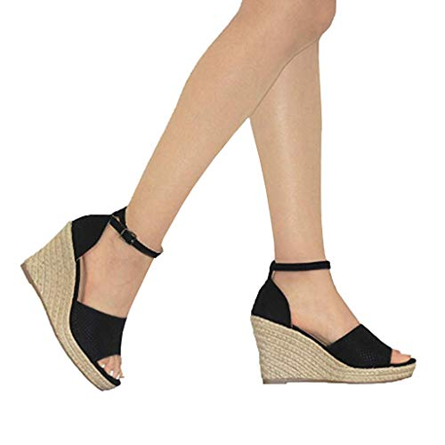 Sandalias de Mujer Plataforma,JiaMeng Moda Polaco Dull Costura Peep Toe Cuñas Hasp Sandalias Zapatos...