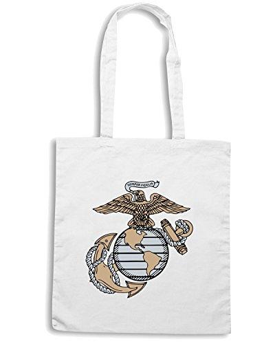 T-Shirtshock - Borsa Shopping TM0378 Marines usa Bianco
