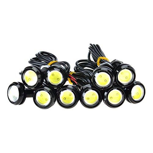 KAWELL Universale 10PCS Alta Potenza Bianco 12V 9W LED Eagle Eye Ammortizzatore DRL Nebbia Luce di Giorno del motociclo brillante Positions della coda di sostegno della luce auto della Marcatura lu