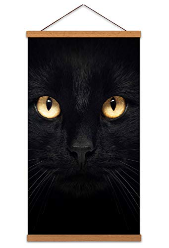 Wee Blue Coo LTD Black Cat Face Yellow Eyes Close Up Canvas Wall Art Print Poster Magnetic Hanger Clip Frame 24x12 Inch Gesicht Gelb Augen Nahansicht Wand