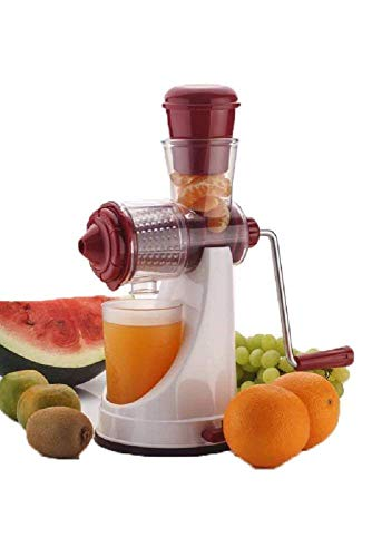 Piesome Hand Juicer for Fruits and Vegetables with Steel Handle Vacuum Locking System,Shake, Smoothies,Travel Juicer for Fruits and Vegetables,Fruit Juicer for All Fruits,Juice Maker Machine(Red)