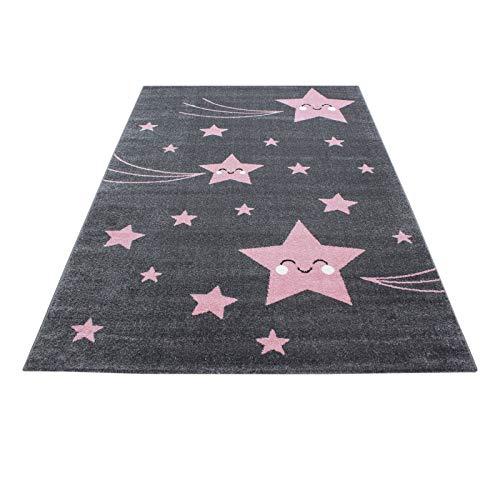 Carpet 1001 Kinderteppich Kinderzimmer Teppich mit Motiven Katze Kids-610 Pink - 80x150 cm