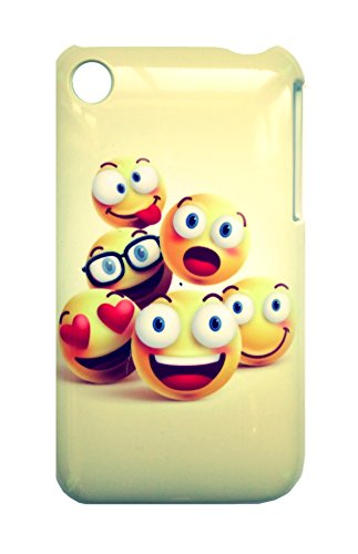 PENCILUPNOSE® Étui pour Apple iPhone 3 3GS Housse Case Etui Cover coque Rigide avec Motif Smiley