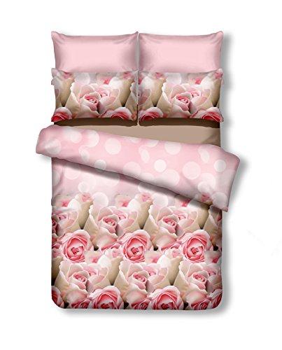DecoKing Premium 200x200 cm Bettwäsche mit 2 Kissenbezügen 80x80 Bettbezüge Microfaser Reißverschluss Blumen Adam Emerald rosa beige