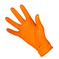 The Chemical Hut 200pack (100Pairs) of XLARGE Orange Double Sided Extra Strong Fishscale Nitrile Grip Gloves - Comes with TCH Anti-Bac Pen