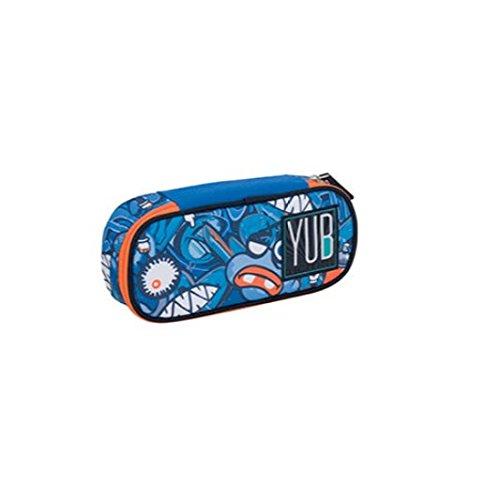 ASTUCCIO BUSTINA BORSELLINO YUB SEVEN BUBBLE STYLE ROUND PLUS SCUOLA blu + omaggio penna glitterata + omaggio segnalibro