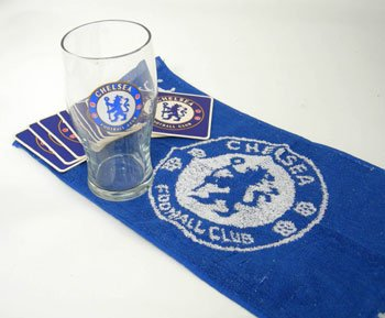 OFFICIEL DE CHELSEA Football Club mini bar mis pinte bar en verre serviette et 4 sous-bocks