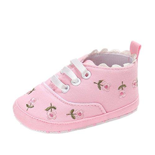 Chaussures de bébé Auxma Chaussures de randonnée pour bébés,Chaussures de toile,Baskets souples antidérapants pour tout-petits Pour 3-18 mois (12-18 M, blanc) Rose
