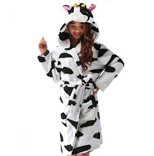 ECHERY Unisex Animal Cartoon Fleece Warm Kapuzen-Bademantel Roben Kleid Nachtwäsche Cosplay Kostüm Kuh (Satin-robe Charmeuse)