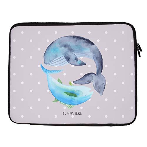 Mr. & Mrs. Panda Computertasche, Laptop, 33 x 42 Notebook Tasche Walfisch & Thunfisch - Farbe Grau Pastell