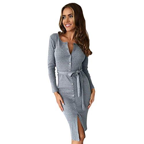Vestido de las mujeres, Amlaiworld Botón de la moda Vestido lápiz (S, Gris)
