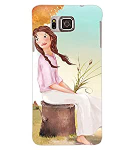 ColourCraft Sitting Girl Back Case Cover for SAMSUNG GALAXY ALPHA G850