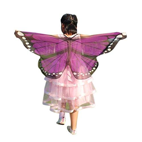 GJKK Kind Kinder Jungen Mädchen 118*48CM Weiche Gewebe Schmetterlings Flügel Schal Feenhafte Böhmischen Schmetterling Gedruckt Schal Kostüm Zubehör Faschingskostüme Kostüm Verkleidung (Lila, F) (Super Einfache Halloween Kostüme Für Kinder)