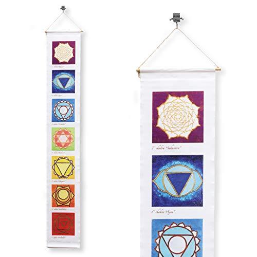 7 Chakren auf Tapisserie gedruckt - 100x15 cm Set Banner mit 7 Chakren auf Stoff gedruckt an der Wand hängen Dekor Feng Shui Energie orientalische Ornament Yoga Meditation ()
