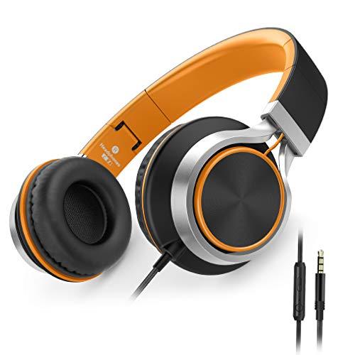 Ailihen C8 Kopfhörer leicht faltbar mit Mikrofon Lautstärkeregelung Musik Headsets 3,5mm für Smartphones PC Laptop Mac MP3 Tablet (Orange)