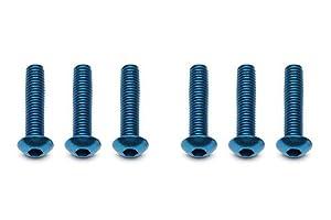 Team Associated FT Screws, 3x 14mm bhcs, Blue Aluminum