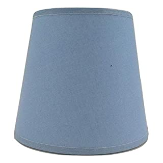 Light Blue Small Candle Clip On Lampshade Ceiling Chandelier Wall Light Lamp Shade Handmade Cotton Fabric