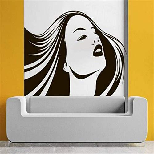 Womens Longs Kunst (Hbbhbb Beauty Girl Salon Wall Decal Woman Long Hair Vinyl Hairdressing Wall Stickers Cosmetic Barber Shop Stylist Fashion 90X57Cm)