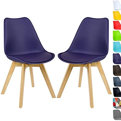 WOLTU 2 x Dining Chairs Kitchen Chair with Wood Legs Upholstered Seat Breakfast Chair with Backrest Purple BH29la-2-a