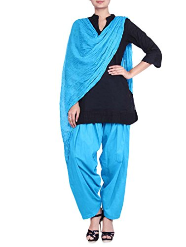 Stylenmart Ferozi Blue Semi Patiala Salwar with Dupatta for Women