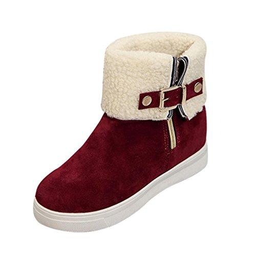 Bottes et boots,Transer® Vêtements dames femme Bottes plat chaud d'hiver fourrure neige Casual chaussures Rouge