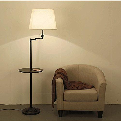 Lampe de plancher Moderne Simple Vertical table basse canapé lampadaire/Américain rural LED chambre chevet Iron art Luminaire/noir A+