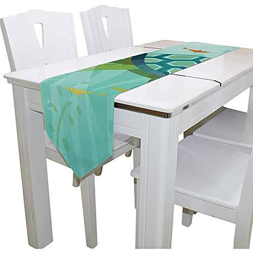 W-wishes Kleine grüne Schildkröte-Polyester-Tischläufer für dekoratives Kaffee-Hauptspeisen -