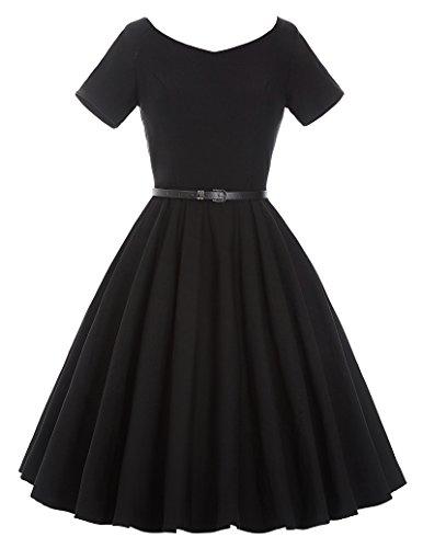 a Linie Casual Kleid Damen Petticoat Kleid Kurzarm Kleid Vintage Kleid S BP97-1