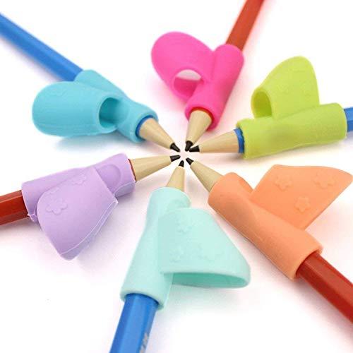 Pencil Grips, soporte de lápices de silicona para niños, herramienta de corrección de postura para niños, 3 piezas (color al azar)