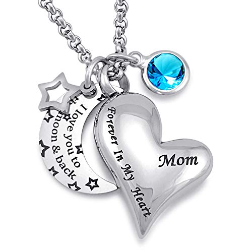 ne Ketten für Asche I Love You to The Moon and Back für Mama Urne Medaillon Geburtsstein Schmuck ()