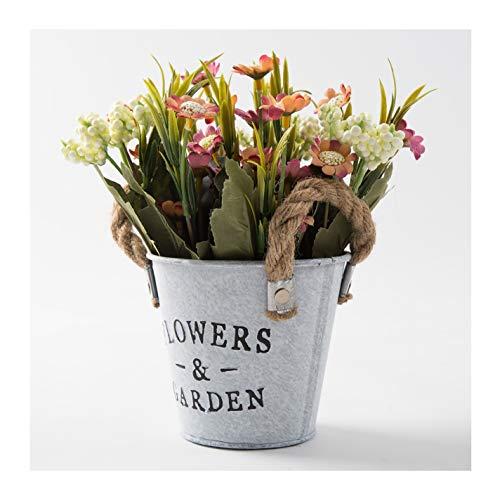 LODESTAR Künstliche Blumen in Metalltopf mit Seil-Griff, Mini-Strauß für drinnen und draußen, Hochzeitsdekoration, Rosa