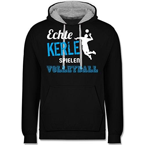 Shirtracer Volleyball - Echt Kerle Spielen Volleyball - S - Schwarz/Grau meliert - JH003 - Kontrast Hoodie