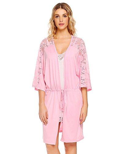 WDDGPZSY Nachthemd/Nachtwäsche/Schlafhemd/Homewear/Pyjamas/ Lace Robe Herbst Frauen Halbe Ärmel Taschen Patchwork Nachtwäsche Patchwork Gummiband Robe Mit Gürtel, Pink, XL -