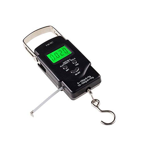 yaoyo Portable LCD-Display mit Hintergrundbeleuchtung 1m Klebeband, 50kg Elektronische Waage, digital Balance Post Haken für Angeln Gepäck, 2AAA Batterien enthalten