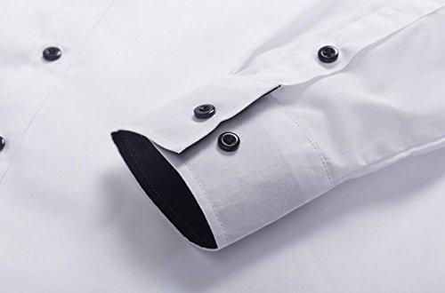DD UP Herren Casual Slim Fit Einfarbig Baumwolle Tops Shirts Langarmshirts Hemden (Viele Farben) White